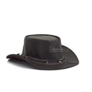 δερμάτινο καπέλο cowboy σε χρώμα σκούρο καφέ και σε δέρμα μοσχάρι