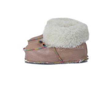 γούνινες παντόφλες Καστοριάς, κλειστές παιδικές (πασούμια) σε σομόν χρώμα