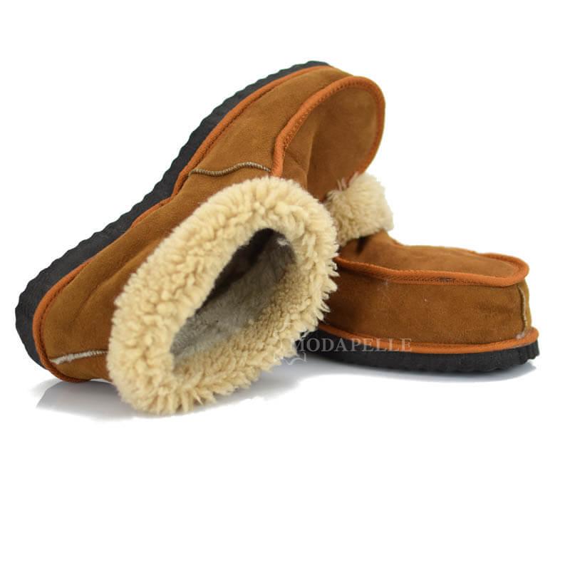 γούνινες παντόφλες Καστοριάς, κλειστές (πασούμια) σε ταμπά χρώμα