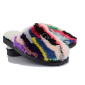 γούνινες παντόφλες Καστοριάς, γυναικείες vison multicolor