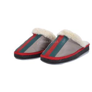 Γούνινες παντόφλες Καστοριάς σε χρώμα γκρι