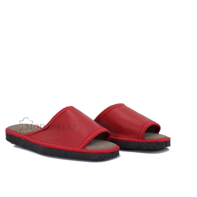 δερμάτινες παντόφλες ανοιχτές σε κόκκινο χρώμα