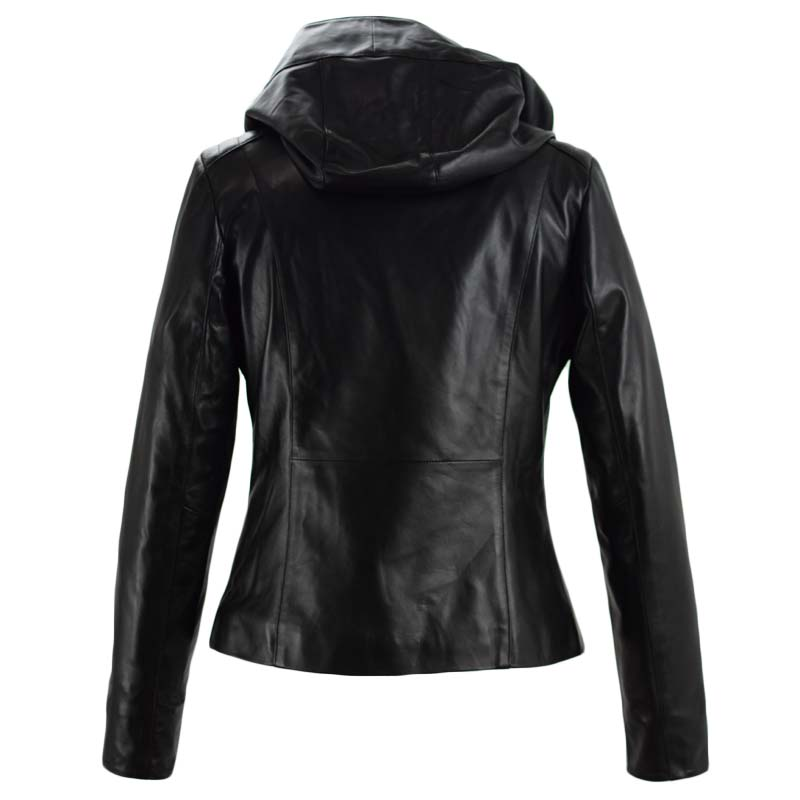 γυναικείο δερμάτινο μπουφάν σε μαύρο χρώμα