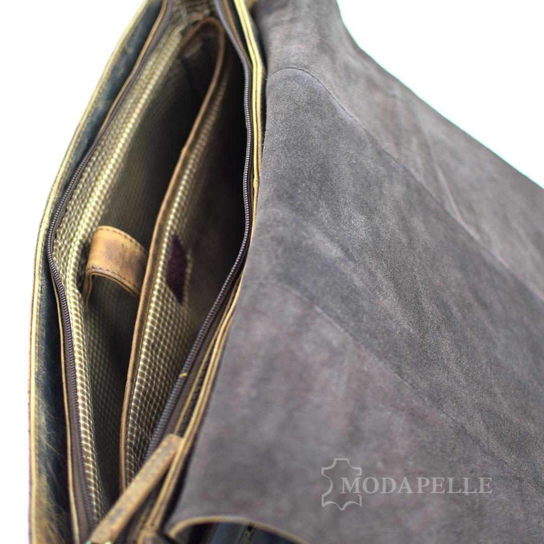 δερμάτινη τσάντα ταχυδρόμου - επαγγελματική σε καφέ χρώμα