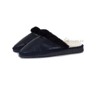Γούνινες παντόφλες Καστοριάς γυναικείες σε χρώμα μπλε σκούρο
