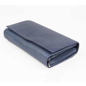 δερμάτινο πορτοφόλι γυναικείο σε μπλε χρώμα