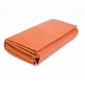 δερμάτινο πορτοφόλι γυναικείο σε πορτοκαλί χρώμα