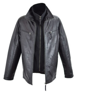 δερμάτινο ανδρικό μπουφάν σε μαύρο χρώμα